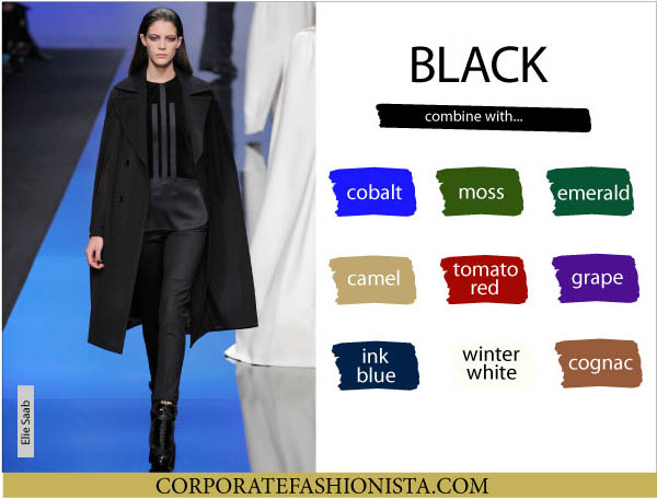 Color Coordinate Your Fall Wardrobe Like A Pro | CF's Color Compatibility Charts - Black | CorporateFashionista.com